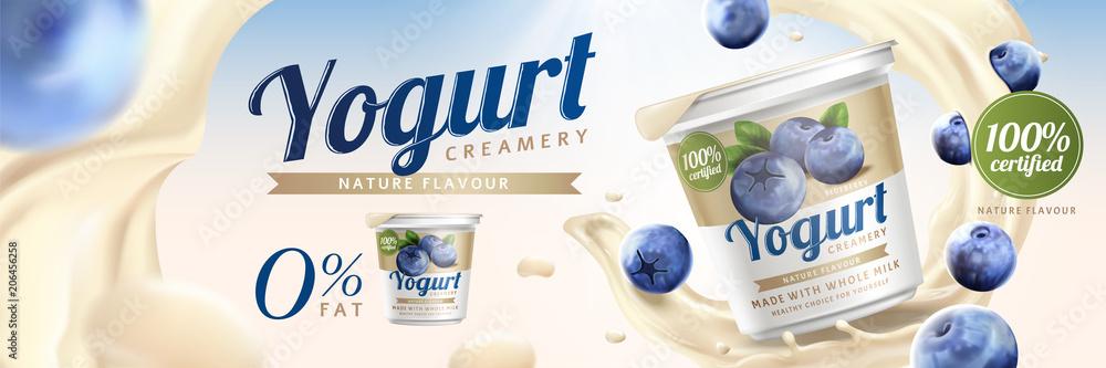 Fototapeta Blueberry yogurt ads