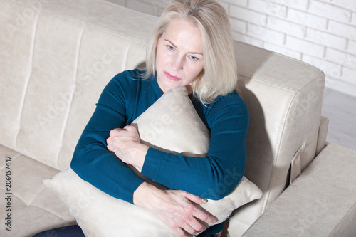 Sad Mature Woman Suffering From Agoraphobia Wallpaper Mural