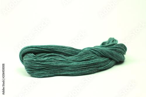 Photo  Green hank of knitting yarn
