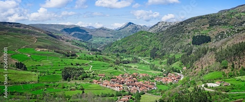 Panoramic view of the Nansa valley and the town of Carmona, Cantabria (Spain)