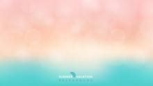 Summer Season Time Blurred Bokeh Blue And Pink Background.