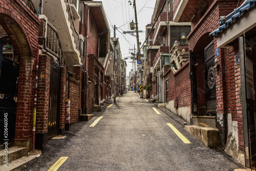 Garden Poster Narrow alley landscape of common old town, narrow street in seoul, korea