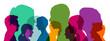 Leinwandbild Motiv Viele Köpfe als Team in verschiedenen bunten Farben