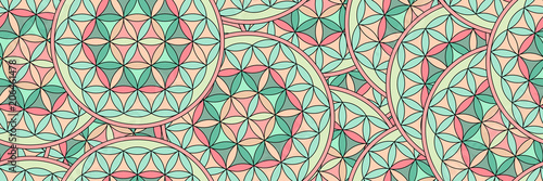 Blume des Lebens als nahtloses Panorama Muster Wallpaper Mural