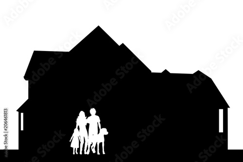 Fotografía Vector silhouette of house with family on white background.