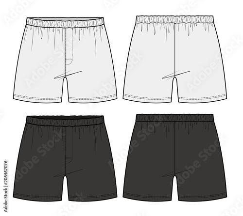 Pants Boxer Shorts fashion flat technical drawing template Canvas-taulu