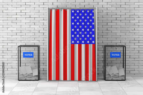 Ballot Boxes near White Voting Booth with Curtain and USA Flag Fototapet