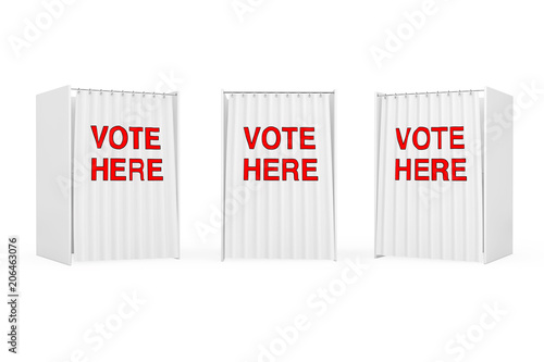 White Voting Booth with Curtain and Vote Here Sign. 3d Rendering Tablou Canvas