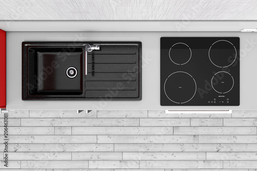 Modern Kitchen with Granite Sink, Stainless Steel Water Tap and Induction Cooktop Stove top view. 3d Rendering