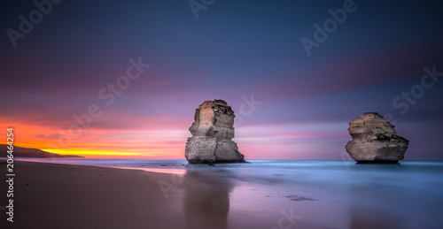 Poster Campagne Two of the twelve apostles at sunrise from Gibsons beach, Great Ocean Road, Victoria, Australia