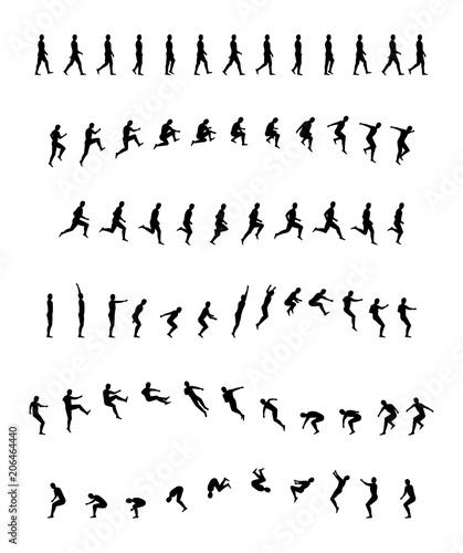Walking, running, backflip, jogging, jumping, acrobatics, sports and ...