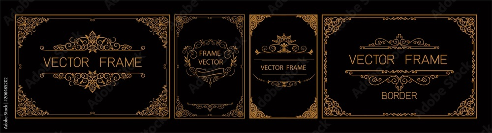 Fototapeta Pr Set of gold border and frame template with corner Thailand line floral for picture, Vector design decoration pattern Thai art style.frame border design is pattern