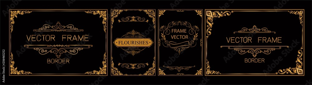 Fototapeta Pr	 Set of gold border and frame template with corner Thailand line floral for picture, Vector design decoration pattern Thai art style.frame border design is pattern