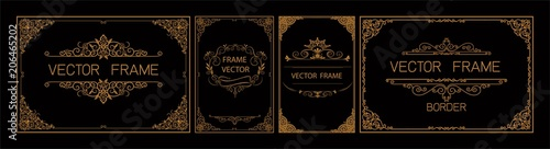 Photo  Pr	 Set of gold border and frame template with corner Thailand line floral for picture, Vector design decoration pattern Thai art style