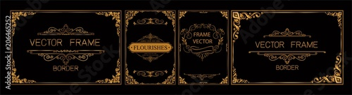 Αφίσα  Pr	 Set of gold border and frame template with corner Thailand line floral for picture, Vector design decoration pattern Thai art style