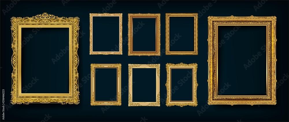 Fototapeta Set of Decorative vintage frames and borders set,Gold photo frame with corner Thailand line floral for picture, Vector design decoration pattern style. border design is pattern Thai art style