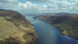 aerial 4k footage of beautiful lake in mountains. Glenveagh national park in Ireland