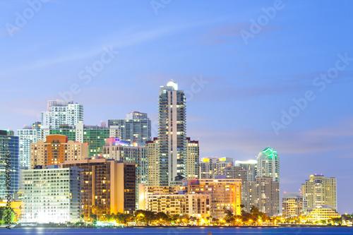 Plakat Linia horyzontu budynki przy Brickell okręgiem, Miami, Floryda, usa