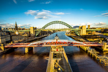 View Of Tyne And Swing Bridges Across River Tyne, Newcastle Upon Tyne