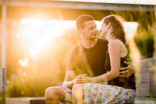 Affectionate love couple embracing outdoors Poster