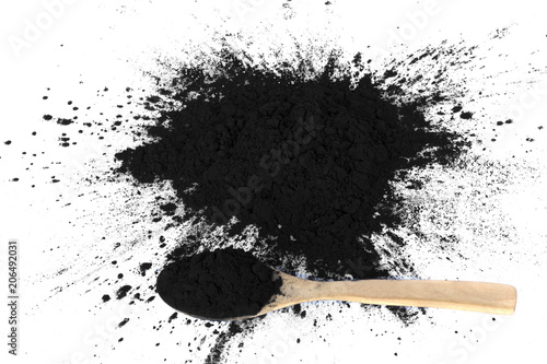 Photo activated charcoal isolated on white background