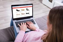 Woman Shopping Footwear's Onli...