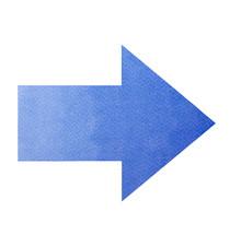 Arrowpoint Right Icon - Blue Arrow Watercolor Isolated Ov White