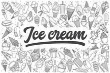 Hand Drawn Ice Cream Vector Doodle Set.