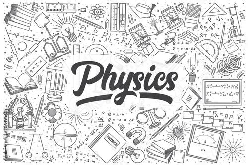 Valokuvatapetti Hand drawn physics vector doodle set.