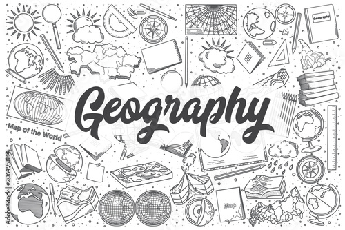 Fotografie, Tablou  Hand drawn geography vector doodle set.