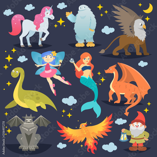 Obraz na plátně Mythological animal vector mythical creature phoenix or fantasy fairy and charac