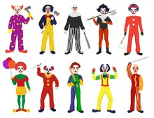 Clown Vector Clownish Character Clowning On Performance In Circus And Cartoon Man Of Clownery Illustration Set Of Perfomers With Scary Or Creepy Expressions Isolated On White Background