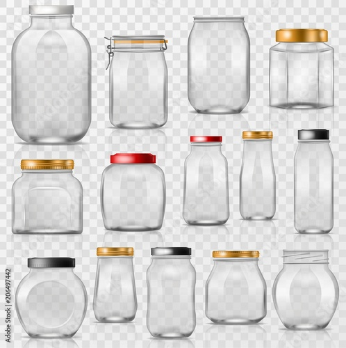 Glass jar vector empty mason glassware with lid or cover for canning and preserv Fototapeta