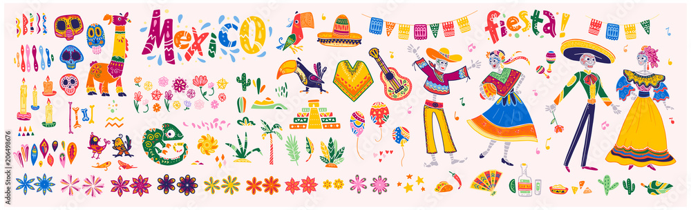 Fototapety, obrazy: Big vector set of mexico elements, skeleton characters, animals in flat hand drawn style isolated on white background. Icons for fiesta, celebration, national patterns, decoration, traditional food.
