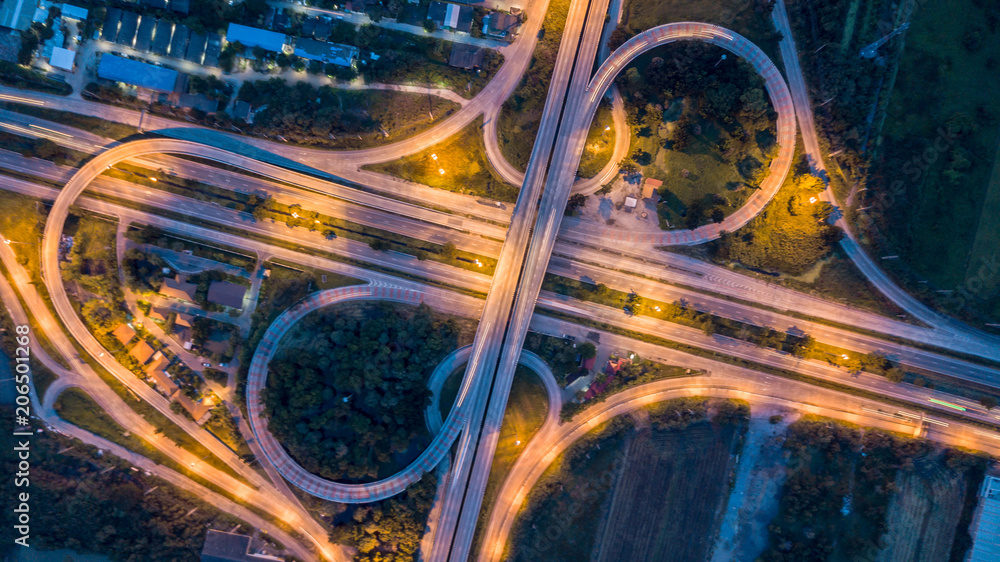 Fototapety, obrazy: Aerial top view of a massive highway intersection, aerial view interchange of a city.