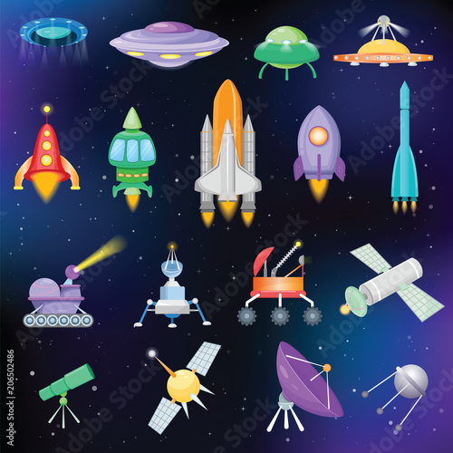 Photo Rocket vector spaceship or spacecraft with satellite and spacy ufo illustration