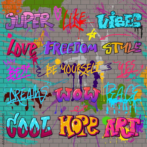 Deurstickers Graffiti Graffiti vector graffito of brushstroke lettering or graphic grunge typography illustration set of street text with love freedom isolated on brick wall background