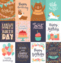 Happy Birthday Card Vector Anniversary Greeting Postcard With Lettering And Kids Birth Party Invitation With Cake Or Gifts Illustration Set Of Childs Postal Cards For Typography