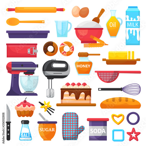 Fotomural Baking vector kitchenware and food bakery ingredients for cake illustration caki