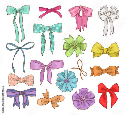Tableau sur Toile Girls bow vector girlish bowknot or girlie ribbon on hair or for decorating gift