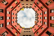 canvas print picture - Inner courtyard of apartment building