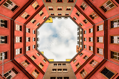 Inner courtyard of apartment building Fotobehang