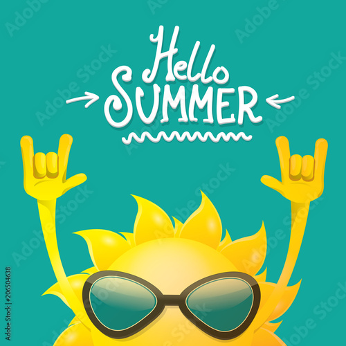 Obraz hello summer funky rock n roll vector label isolated on azure. summer party background with funky sun character design template. vector summer party poster - fototapety do salonu