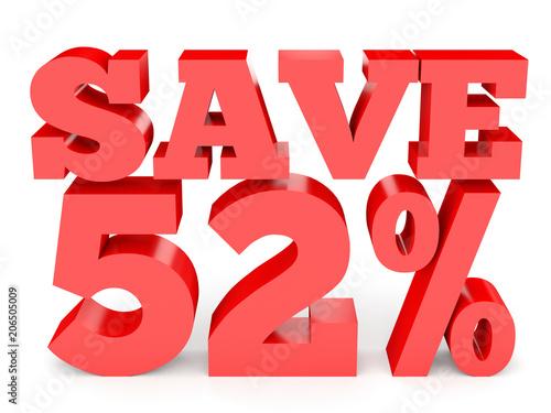 Fotografia  Fifty two percent off. Discount 52 %.