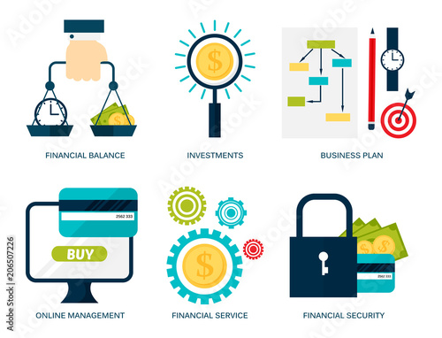 Banking money financial services set credit sign development online accumulation bank investment management finance vector illustration Fototapete