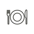 Fork knife and plate icon vector. Line eat symbol isolated. Trendy flat outline ui sign design. Thin linear dinner graphic pictogram for web site, mobile app. Logo illustration. Eps10
