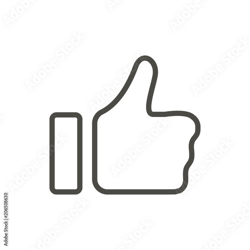 Obraz Thumb up icon vector. Line like symbol isolated. Trendy flat outline ui sign design. Thin linear like hand graphic pictogram for web site, mobile app. Logo illustration. Eps10 - fototapety do salonu