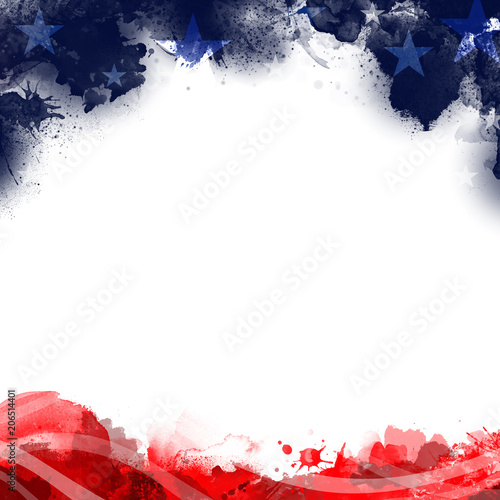 A header footer illustration of United States Patriotic background in flag colors with a blank white space Wall mural