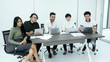 Business people having online meeting together. Business team with video conference together at meeting room. people working concept.