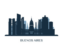 Buenos Aires Skyline, Monochrome Silhouette. Vector Illustration.